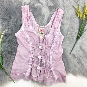 Free people tank top lace ribbon sz 4 lavender
